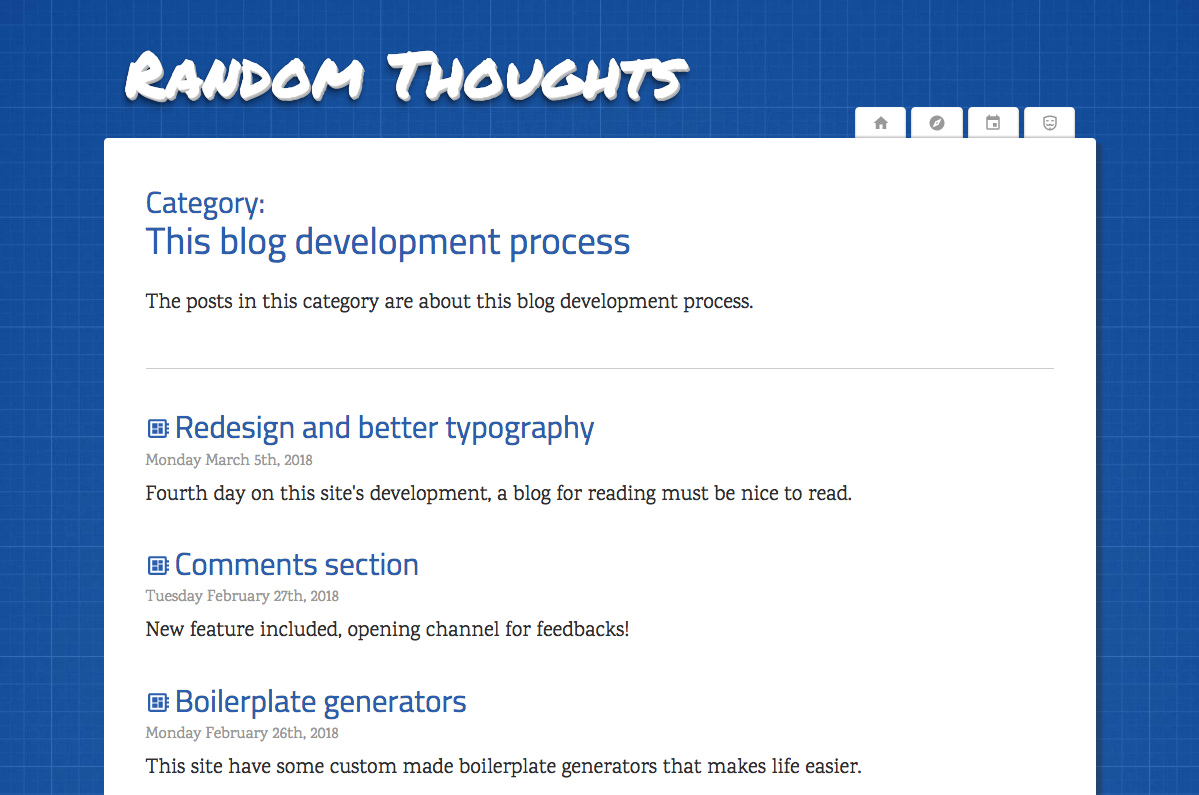 Category page of this blog's current version